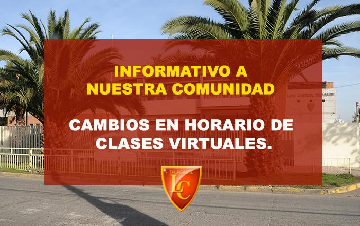 CAMBIOS EN HORARIO DE CLASES VIRTUALES